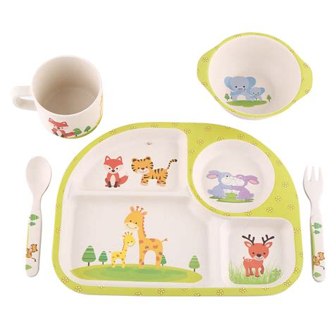 Baby Set 5pcs set baby plate bowl cup forks spoon set children