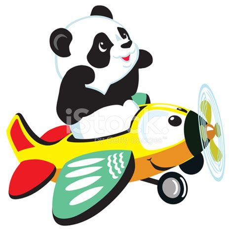 cartoon panda flying with plane stock vector freeimages.com