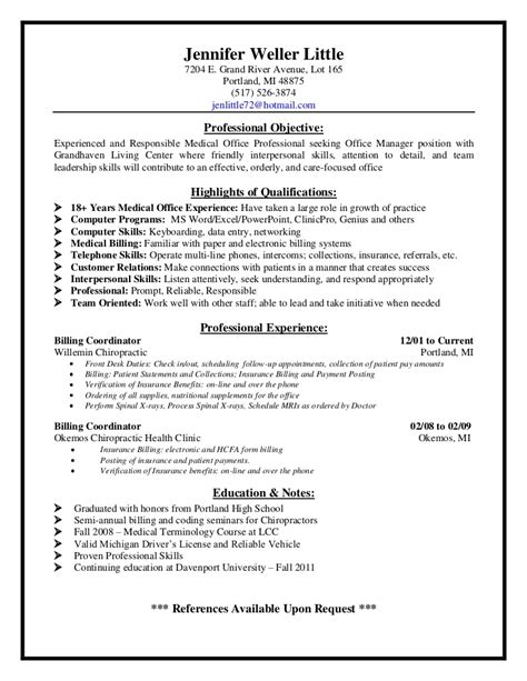 Sle Resume For Office Office Assistant Resume Sle 28 Images Front Desk Dental Resume Sales Dental Lewesmr Resume