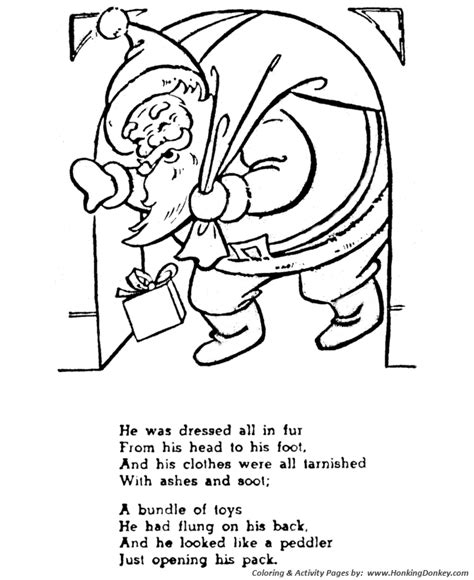 night before christmas coloring pages his cheeks were