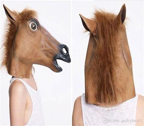 girl wearing horse head mask creepy horse head latex mask halloween costume theater