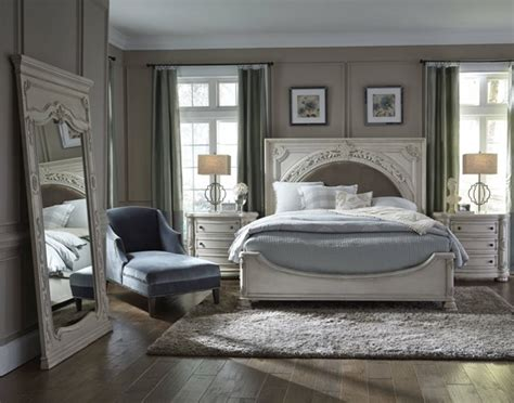 davenport white wood pc bedroom set wking panel upholstered bed  classy home