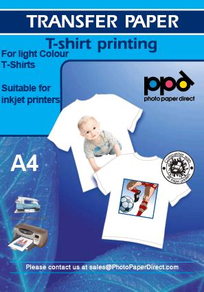 How To Make T Shirt Transfer Paper - a4 light inkjet t shirt transfer paper at photo paper direct