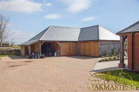 l shaped garage l shaped oak outbuilding complex in sussex oakmasters