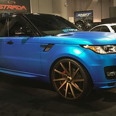 "matte blue range rover sport supercharged on 24"" strada"