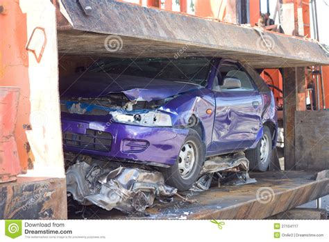 car crushed stock image image  hydraulic sedan