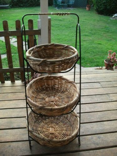 vintage style 3 tiered free stand vegetable fruit wicker