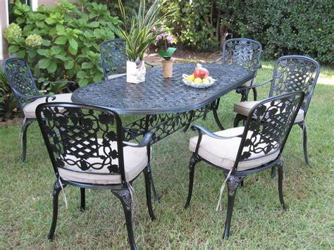 Outdoor Cast Aluminum 7 Piece Dining Set With Cushions Outdoor Patio Table Set