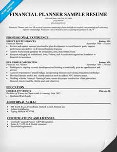 Financial Advisor Resume Exles by Financial Planner Resume Resume Sles Across All Industries Pin
