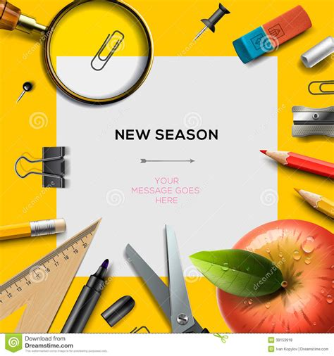 New School Season Template With Office Supplies Stock Illustration Illustration Of Elementary School Photo Templates Free