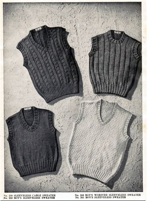 knitting pattern for boys vest 8 pattern collection vintage boy s sleeveless sweaters