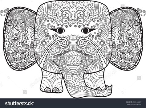 Anti Stress Batik Coloring Book For Adults 1 abstract elephant doodle stock vector 494042221