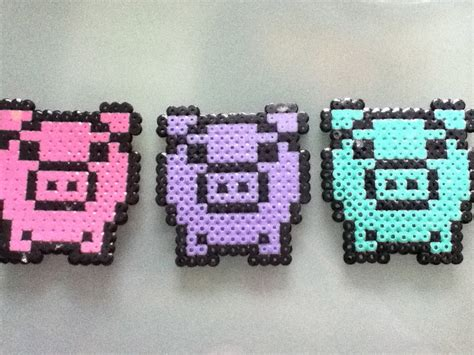 perler bead pigs by purplepandacharms on deviantart