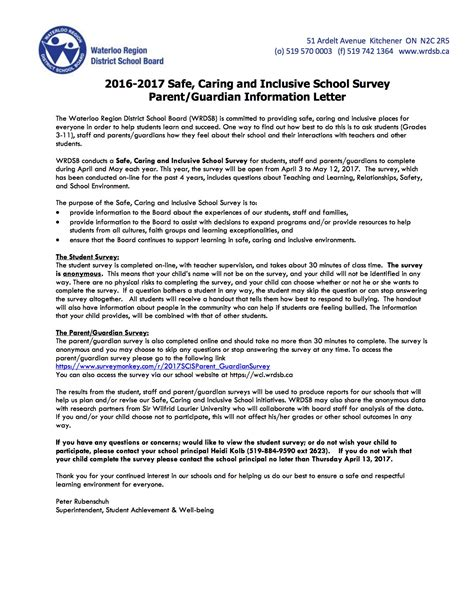 Parent Guardian Letter From 2016 2017 Safe Caring And Inclusive School Survey For Parents Guardians Waterloo Collegiate