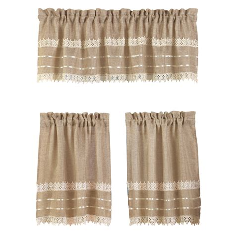 burlap looking curtains country style burlap lace curtain set by collections etc