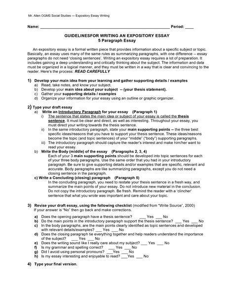 Expository Essay Thesis Statement Exles by How To Write A 5 Paragraph Essay