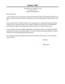 construction labor cover letter exles construction