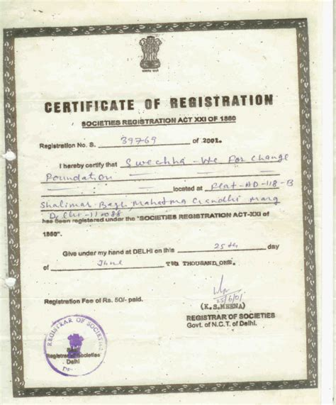 Certificate Of Registration For Ngo Trust And Society 2014 Certificate Of Trust Template