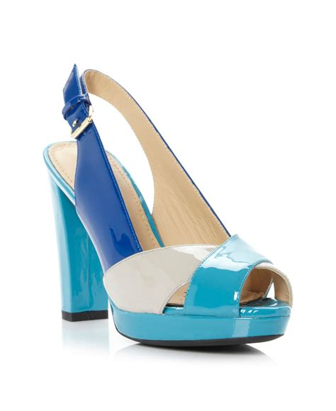 blue block heel sandals geox new egizia block heel contrast sandals in blue lyst