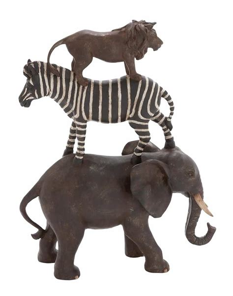 Animal Statues Home Decor | stacked african animal statue natural colors statue home