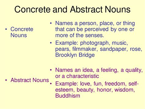 abstract nouns definition concrete nouns definition