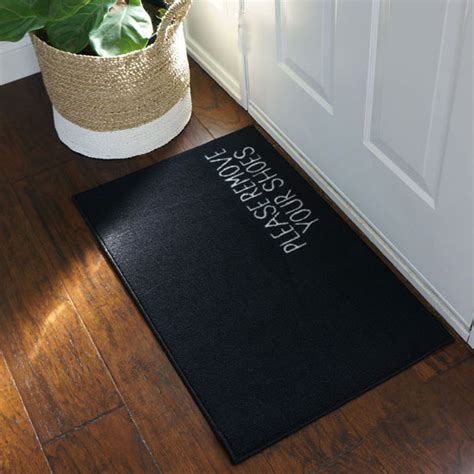 Remove Your Shoes Mat by Remove Your Shoes Message Doormat Black