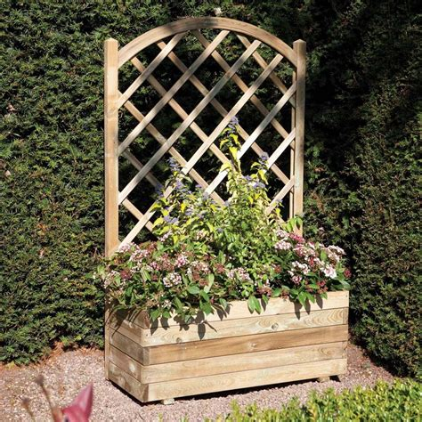lattice planter with trellis 1 5 x 3 ft wooden rectangular garden planter lattice