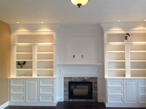 Fireplaces With Built In Bookcases by Custom Wall Built In Bookcases With Tv Mount