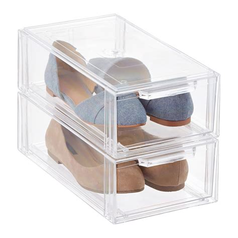 Shoe Storage With Drawers by Clear Stackable Shoe Drawer The Container Store