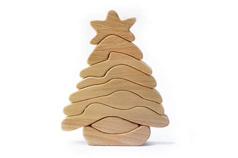 wooden toy christmas tree waldorf puzzle building blocks