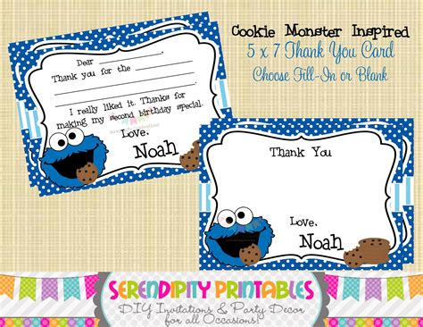 Cookie Baby Shower Invitations by Cookie Inspired Collection Printable Thank You Card