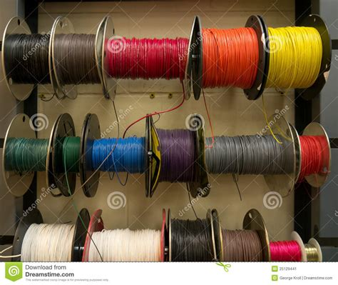 Electrical Wire Spool Rack by Colored Electrical Wires On Spools On Rack Stock Image