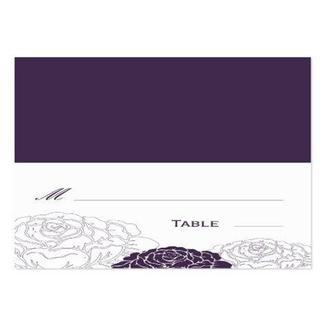rose garden folded wedding place card purple large