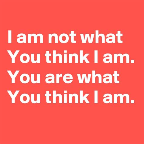You Are What You Think by I Am Not What You Think I Am You Are What You Think I Am