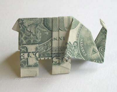 Origami Elephant Dollar - dollar bill elephant origami image 166245 on favim