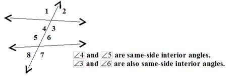 Same Side Interior Angles by Alternate Interior Angles Definition