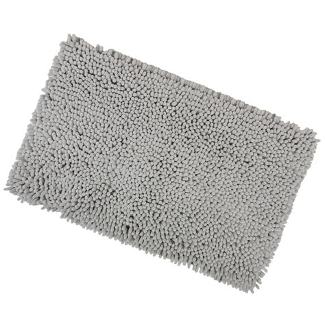 grey bath rug grey 40x60cm shaggy micro fibre bath shower mat rug with non sliper backing ebay
