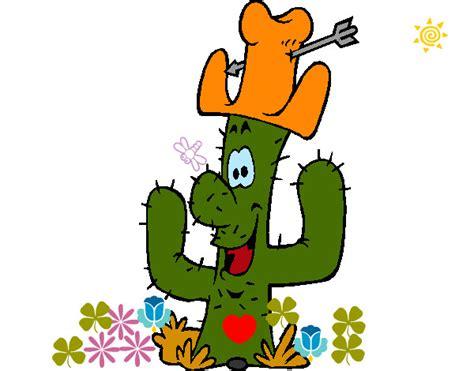dibujo de cactus con sombrero para colorear dibujo de mi cactus favorito pintado por maclau56 en