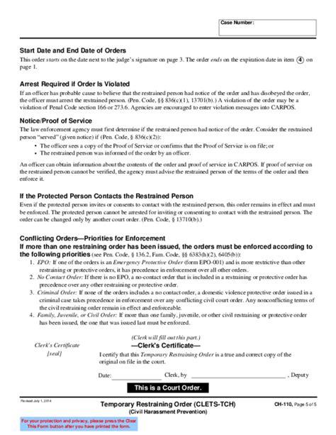 restraining order form california temporary restraining order form foto