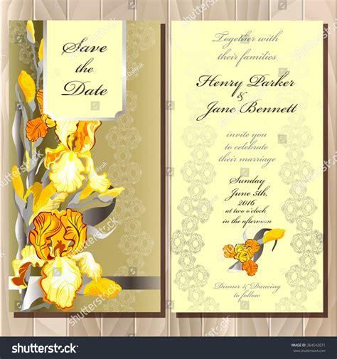Wedding Background Golden Yellow by Wedding Invitation Yellow Orange Golden Iris Stock Vector