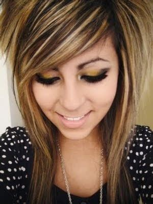medium length brown hair with bangs and blonde highlights emo haircuts for girls with medium hair and bangs medium