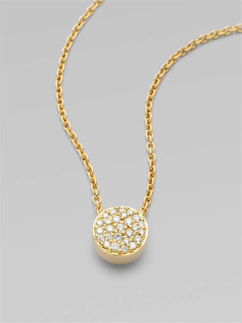 Pendant Necklace Gold With I You georg 18k yellow gold pav 233 pendant necklace in gold lyst