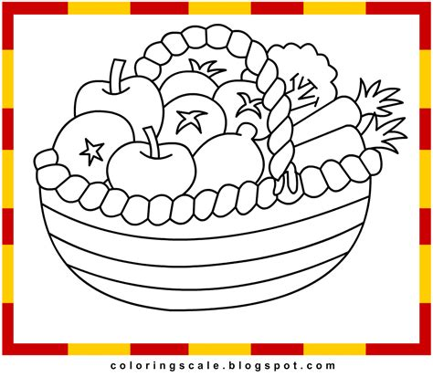 coloring pages printable for kids fruit basket coloring