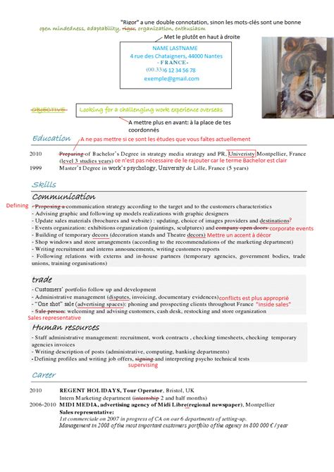 Example Of Job Objective For Resume by Faire Un Cv En Anglais Objectif Expat Com