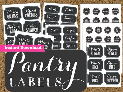 Kitchen Canister Labels by Instant Download Pantry Chalkboard Labels Printable Pantry