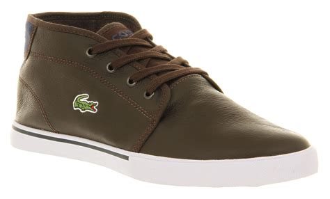 mens lacoste thill casual lace up brown leather trainer