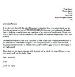 Resignation Letter With 2 Weeks Notice by Formal Resignation Letter Exle With Two Weeks Notice Forums Learnist Org