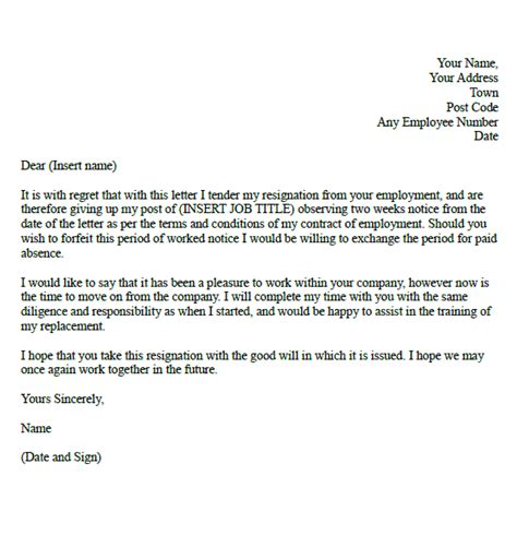 formal resignation letter exle with two weeks notice
