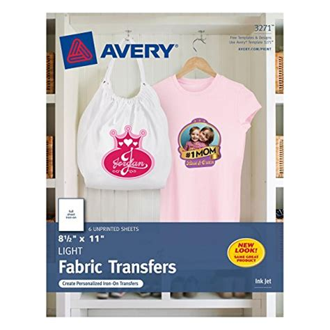 avery printable fabric for inkjet printers avery t shirt transfers for inkjet printers 8 5 x 11