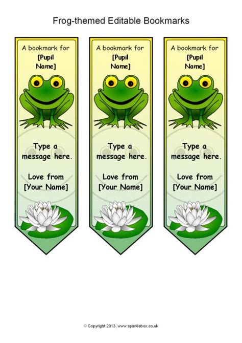 printable bookmarks sparklebox frog themed editable bookmarks sb9876 sparklebox